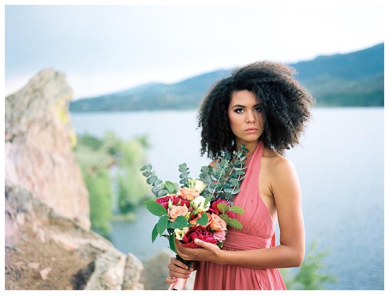 Fashion model, Kaya, at Horsetooth Lake outside of Fort Collins, Colorado. Wedding fashion portrait photography by Sonja Salzburg of Sonja K Photography.
