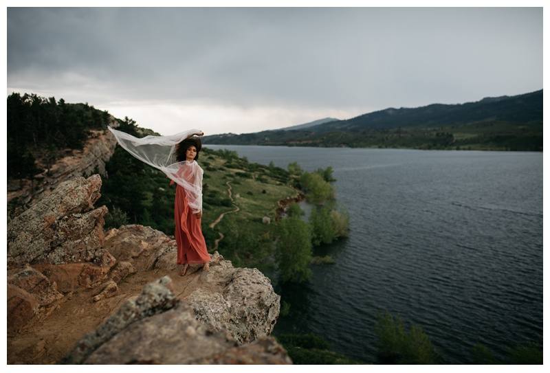 Kaya at Horsetooth Lake for a styled bridal shoot. Wedding fashion portrait photography by Sonja Salzburg of Sonja K Photography.