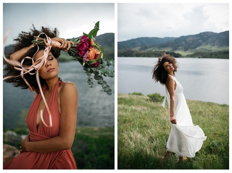 Fashion model, Kaya, at a bridal styled shoot at Horsetooth lake outside of Fort Collins, Colorado. Wedding fashion photography by Sonja Salzburg of Sonja K Photography.