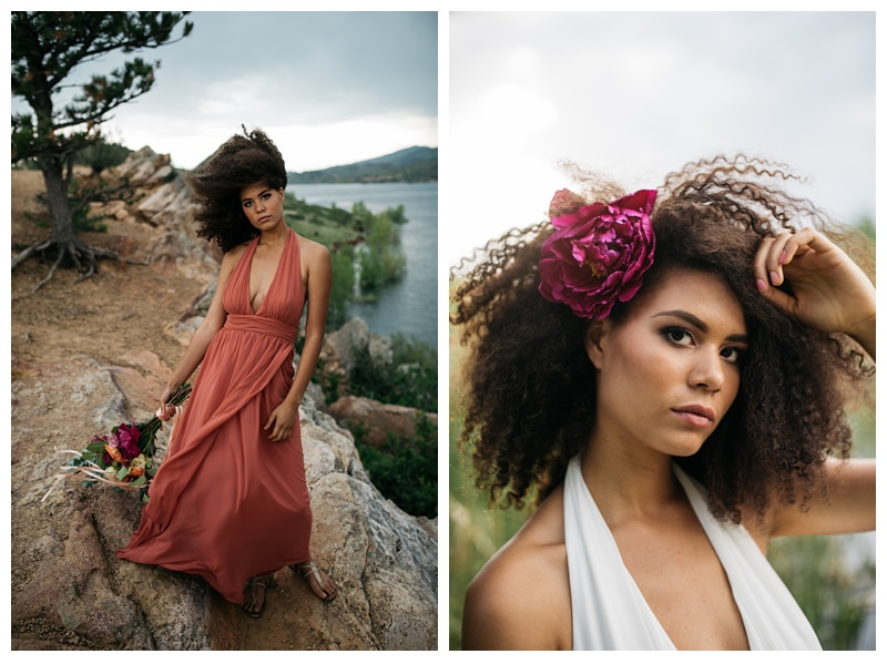 Kaya at a styled shoot at Horsetooth Lake outside of Fort Collins, Colorado. Wedding fashion portrait photography by Sonja Salzburg of Sonja K Photography.