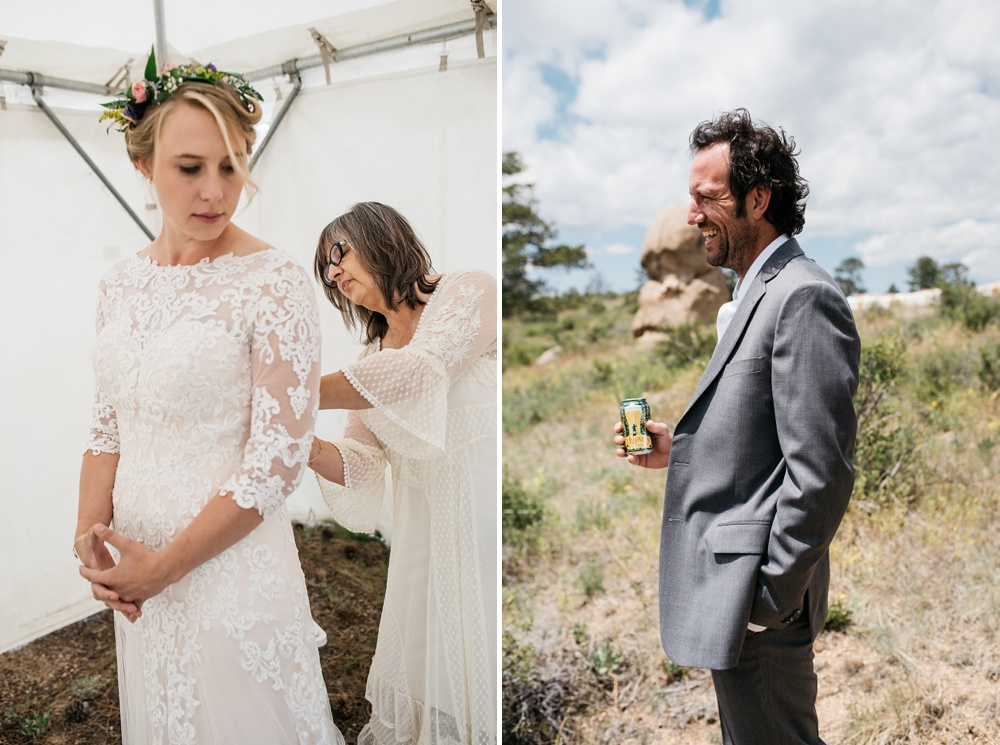 Beth and Seth prepare for their wedding day near Vedauwoo outside of Cheyenne and Laramie, Wyoming. Wedding photography by Sonja Salzburg of Sonja K Photography.