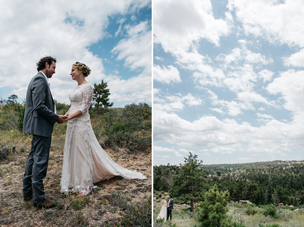 A first look for a wedding near Curt Gowdy State Park outside of Cheyenne and Laramie, Wyoming. Wedding photography by Sonja Salzburg of Sonja K Photography.