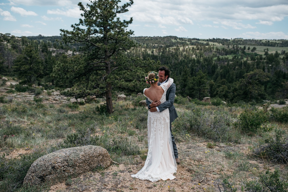 A bride and groom on their wedding day near Vedauwoo outside of Cheyenne and Laramie, Wyoming. Wedding photography by Sonja Salzburg of Sonja K Photography.