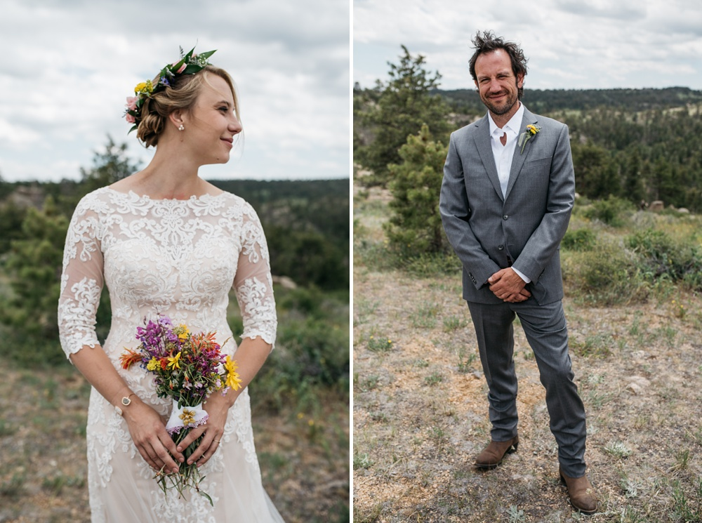 Head shots of a bride and groom on their wedding day outside of Cheyenne and Laramie, Wyoming. Wedding photography by Sonja Salzburg of Sonja K Photography.