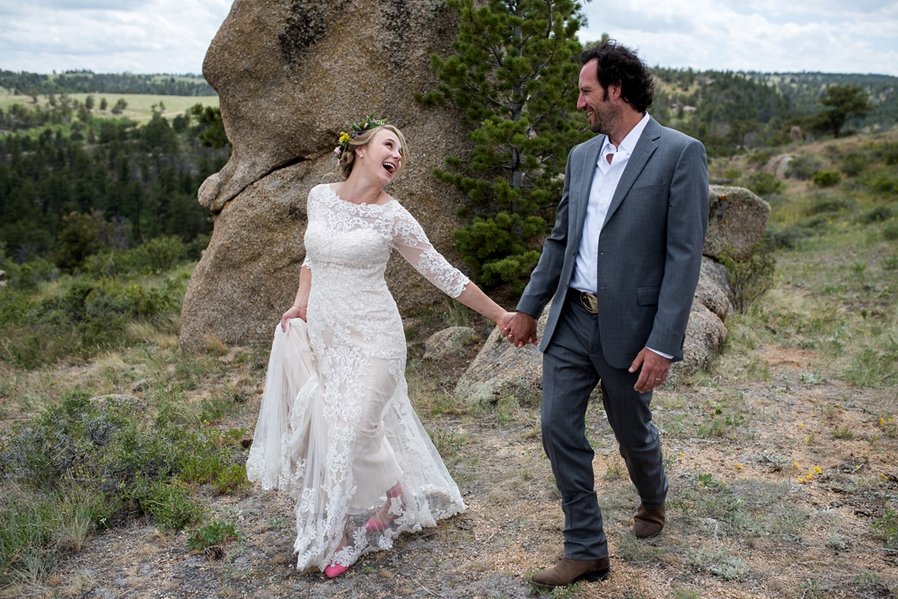 Beth and Seth on their wedding day near Curt Gowdy State Park outside of Cheyenne and Laramie, Wyoming. Wedding photography by Sonja Salzburg of Sonja K Photography.