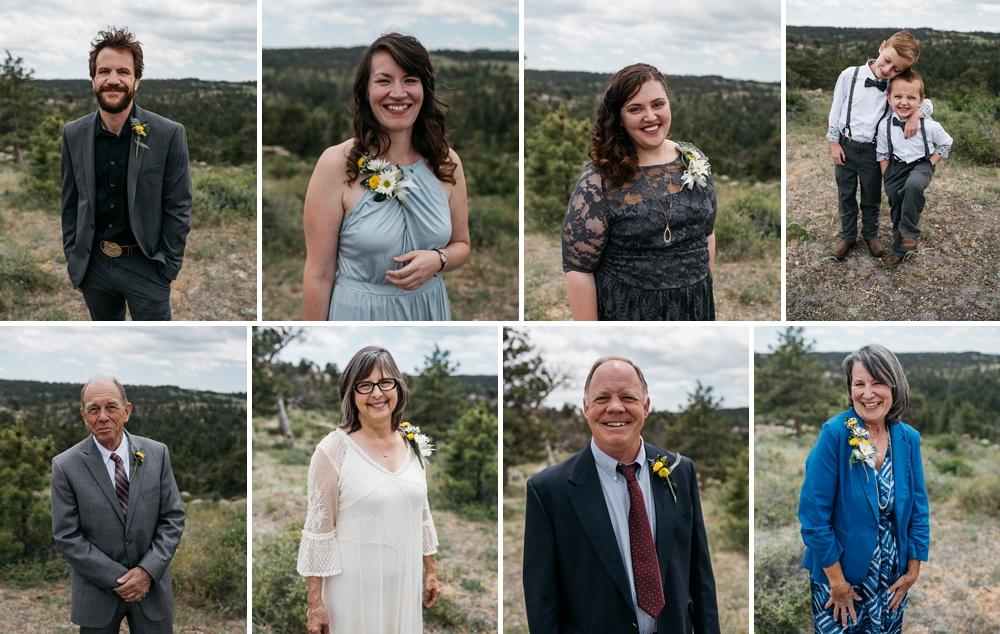 Head shots of the bridal party at a wedding near Vedauwoo near Cheyenne and Laramie, Wyoming. Wedding photography by Sonja Salzburg of Sonja K Photography.