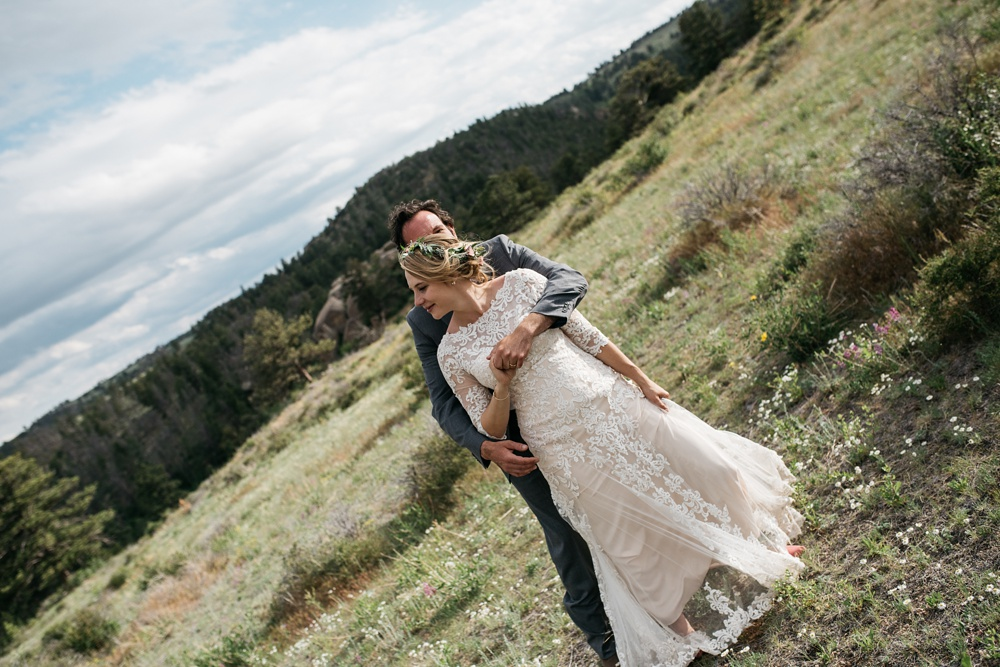 A bride and groom on their wedding day near Vedauwoo and Curt Gowdy State Park outside of Cheyenne and Laramie, Wyoming. Wedding photography by Sonja Salzburg of Sonja K Photography.