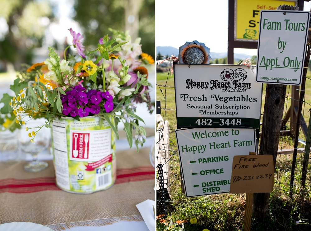 Flowers and signs from the Heart of Summer Farm Dinner at Happy Heart Farm in Fort Collins, Colorado presented by Fortified Collaborations. Event photography by Sonja Salzburg of Sonja K Photography.