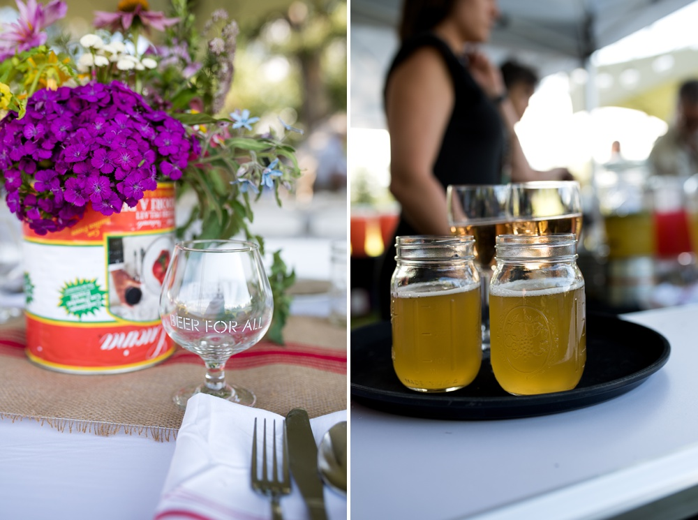 Beer from Verboten Brewing at the Heart of Summer Dinner at Happy Heart Farm in Fort Collins, Colorado. Event photography by Sonja Salzburg of Sonja K Photography.