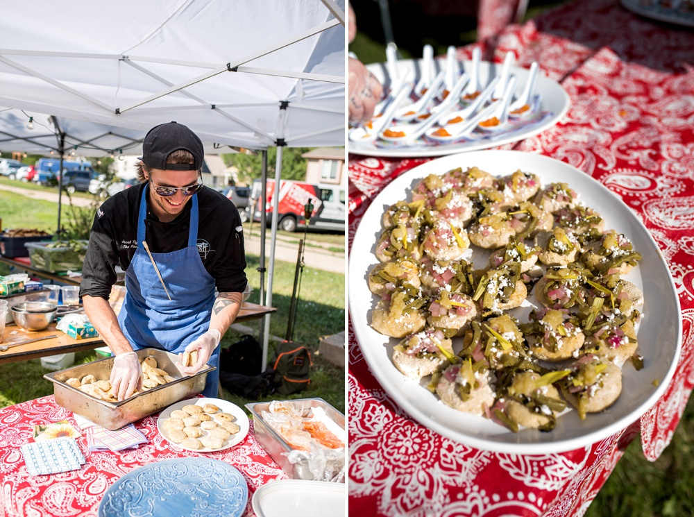 A chef from Fish Restaurant and Market prepares the first course at the Heart of Summer farm dinner presented by Fortified Collaborations in Fort Collins, Colorado. Event photography by Sonja Salzburg of Sonja K Photography.