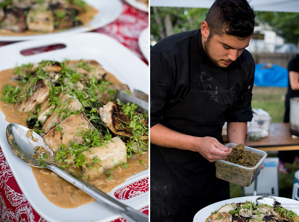 A chef from Fish Restaurant and Market prepares the third course at the Heart of Summer Dinner at Happy Heart Farm in Fort Collins, Colorado. Event and food photography by Sonja Salzburg of Sonja K Photography.