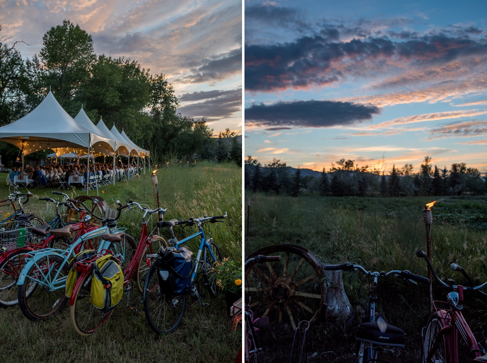 Bikes and the beautiful northern Colorado sunset at the Fortified Collaborations Heart of Summer Dinner at Happy Heart Farm. Event photography by Sonja Salzburg of Sonja K Photography.