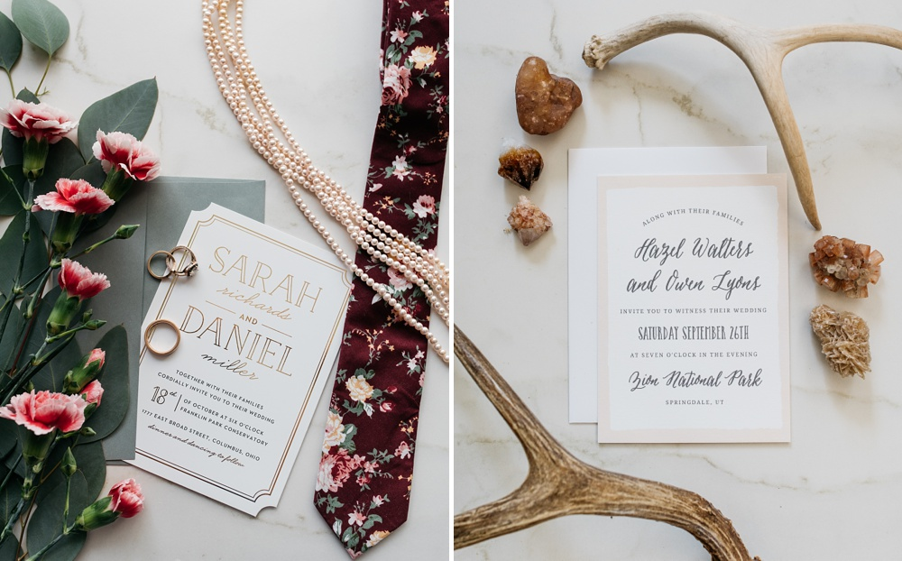 Beautifully custom printed wedding invitations by Basic Invite. Corporate product photography by Sonja Salzburg of Sonja K Photography.