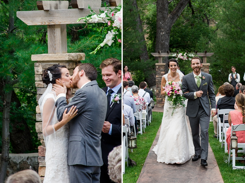 A bride and groom are married at a beautiful outdoor wedding ceremony at Wedgewood on Boulder Creek near Boulder, Colorado. Wedding photography by Sonja Salzburg of Sonja K Photography.