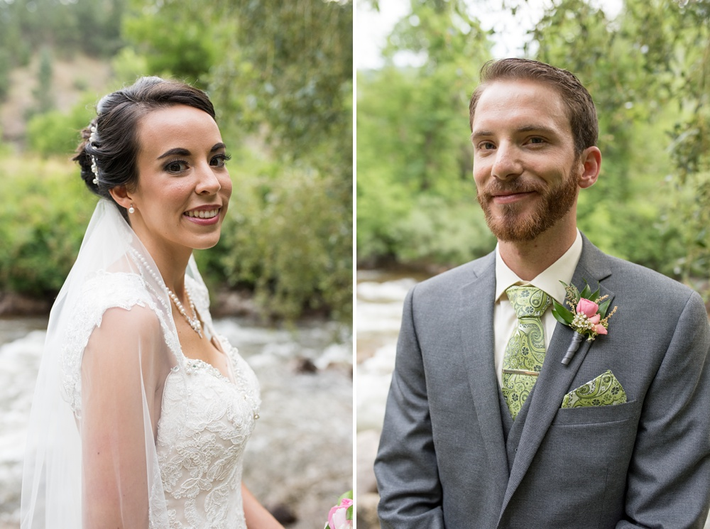 Bright head shots of a bride and groom on their wedding day at Wedgewood on Boulder Creek near Boulder, Colorado. Wedding photography by Sonja Salzburg of Sonja K Photography.