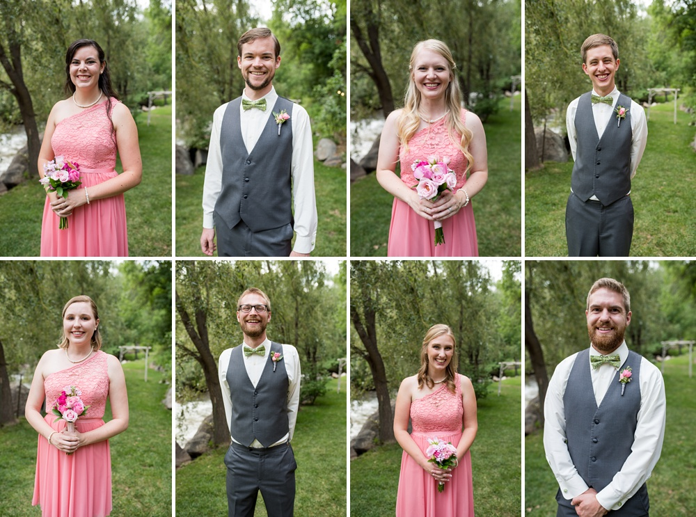 Head shots of the bridal party at a beautiful outdoor wedding at Wedgewood on Boulder Creek near Boulder, Colorado. Wedding portrait photography by Sonja Salzburg of Sonja K Photography.