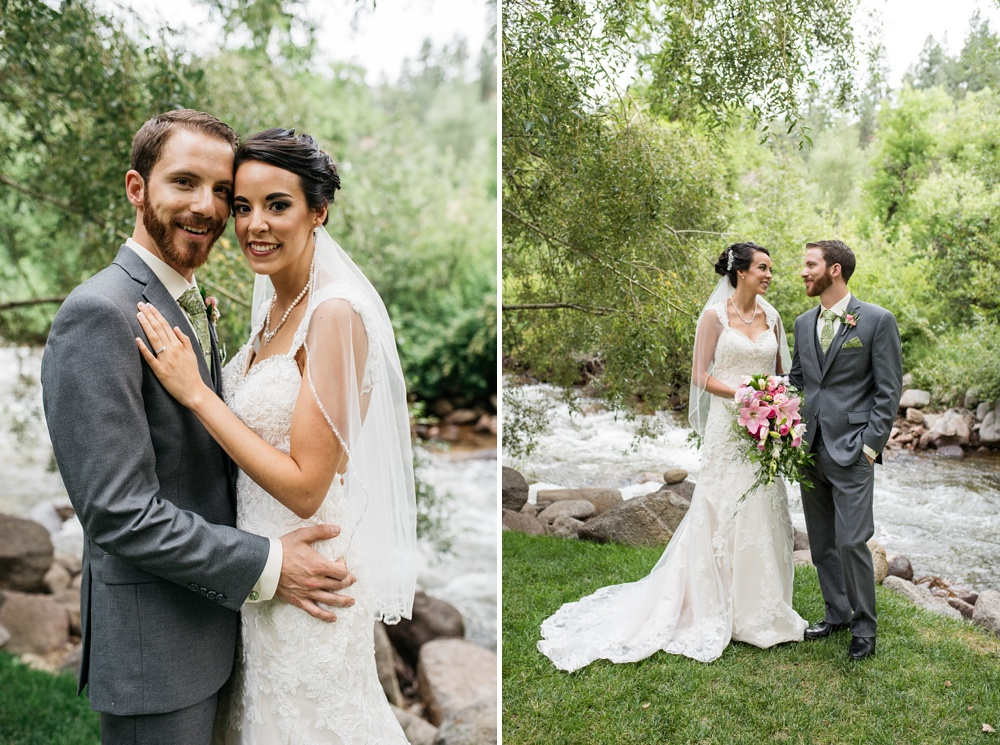 Portraits of a couple on their wedding day at Wedgewood on Boulder Creek near Boulder, Colorado. Wedding photography by Sonja Salzburg of Sonja K Photography.