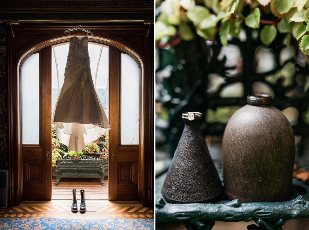 A wedding dress and shoes in the sun room of the Hamill House in Georgetown, Colorado. Pottery by Courtney Puig with the wedding rings at a beautiful colorado mountain wedding. Wedding photography by Sonja Salzburg of Sonja K Photography.