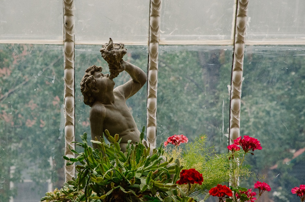 A statue in the sun room of the Hamill House at an outdoor Colorado wedding. Wedding detail photography by Sonja Salzburg of Sonja K Photography.
