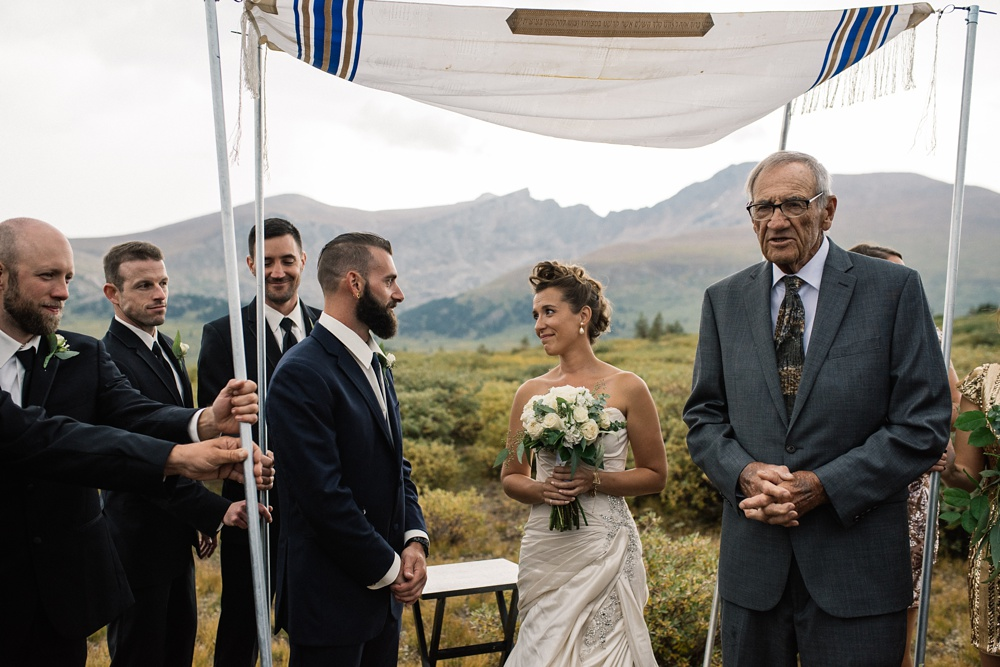A Jewish wedding at the top of Guanella Pass near Georgetown, Colorado. Wedding photography by Sonja Salzburg of Sonja K Photography.