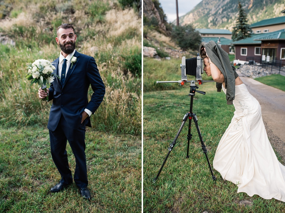 Playful photos of a bride and groom with a 4x5 camera on their wedding day in Georgetown, Colorado. Wedding portrait photography by Sonja Salzburg of Sonja K Photography.