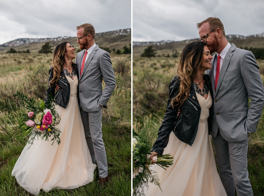 A married couple on their wedding day at Lory State Park outside of Fort Collins, Colorado. Wedding photography by Sonja Salzburg of Sonja K Photography.