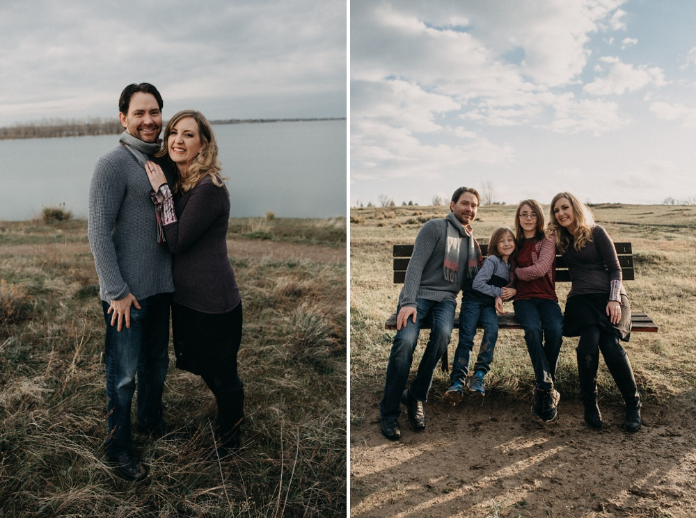 An engagement and a family session at Standley Lake in Westminster, Colorado. Engagement and family portrait photography by Sonja Salzburg of Sonja K Photography.