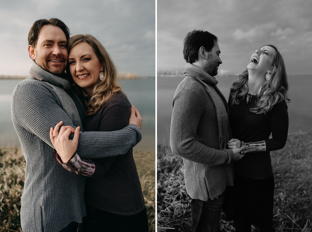 An engaged couple at a session at Standley Lake in Westminster, Colorado. Family and engagement portrait photography by Sonja Salzburg of Sonja K Photography.