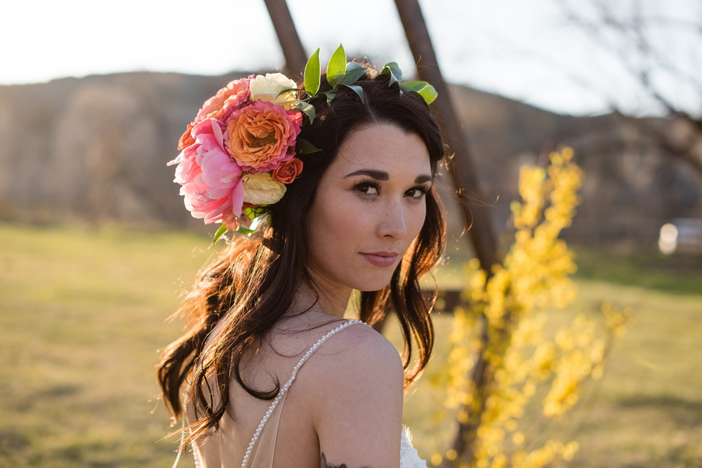 Model Paije Winkler at a styled shoot at Rist Canyon Inn outside of Laporte, Colorado. Wedding styled shoot photography by Sonja Salzburg of Sonja K Photography.