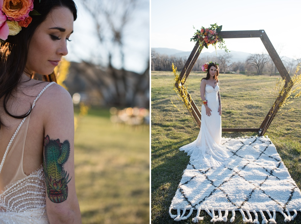 Paije Winkler models a wedding dress from Encore Bridal at a styled shoot at Rist Canyon Inn outside of Laporte, Colorado. Wedding styled shoot photography by Sonja Salzburg of Sonja K Photography.