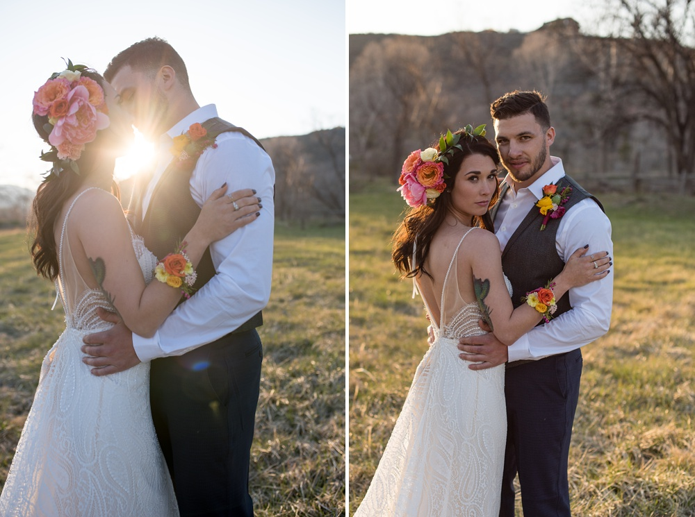 Models Paije Winkler and Dante DeCarlo at a styled shoot at Rist Canyon Inn outside of Laporte, Colorado. Wedding styled shoot photography by Sonja Salzburg of Sonja K Photography.