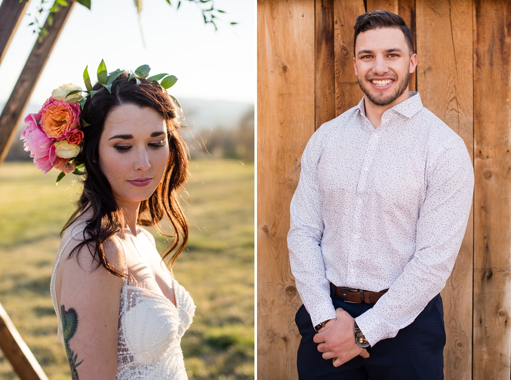 Model Paije Winkler in a dress from Encore Bridal and model Dante DeCarlo at a styled shoot at Rist Canyon Inn outside of Laporte, Colorado. Wedding styled shoot photography by Sonja Salzburg of Sonja K Photography.