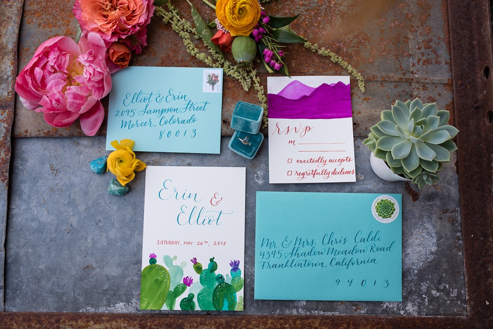 Hand custom calligraphy by Natalie Carrasco of Avo Ink at a styled shoot at Rist Canyon Inn outside of Laporte, Colorado. Wedding styled shoot and corporate photography by Sonja Salzburg of Sonja K Photography.