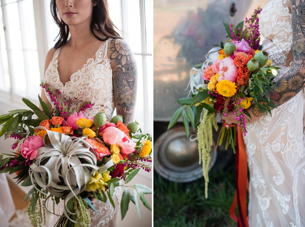 Paije Winkler models a dress from Encore Bridal and flowers from Emily Rose Floral Design at a styled shoot at Rist Canyon Inn outside of Laporte, Colorado. Wedding styled shoot photography by Sonja Salzburg of Sonja K Photography.