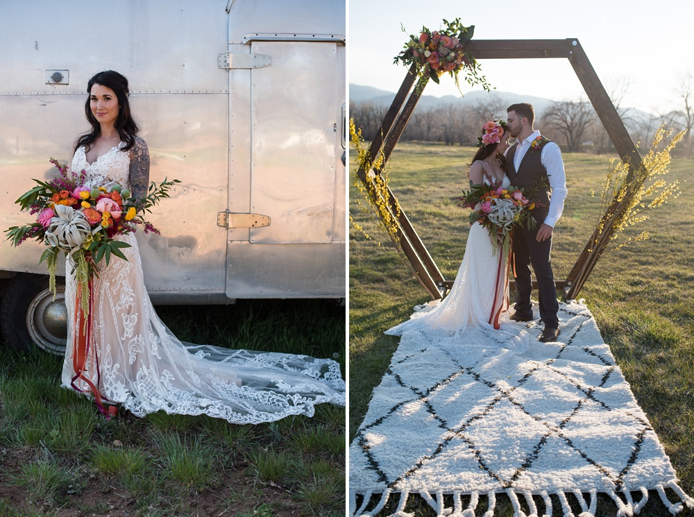 Models Paije Winkler and Dante DeCarlo at a styled shoot at the Rist Canyon Inn outside of Laporte, Colorado. Wedding styled shoot photography by Sonja Salzburg of Sonja K Photography.