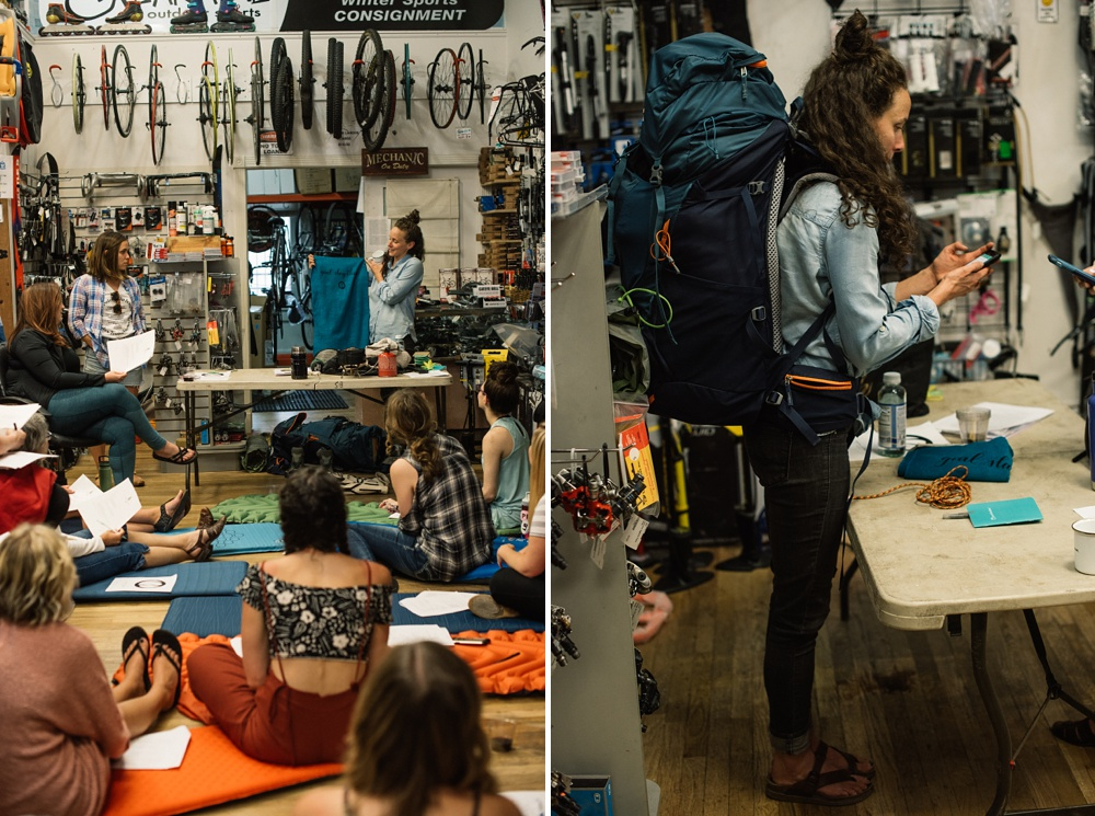 Emma from Wellbody Woman demonstrates some backpacking packing techniques at the Gearage in Old Town Fort Collins, Colorado. Event photography by Sonja Salzburg of Sonja K Photography.