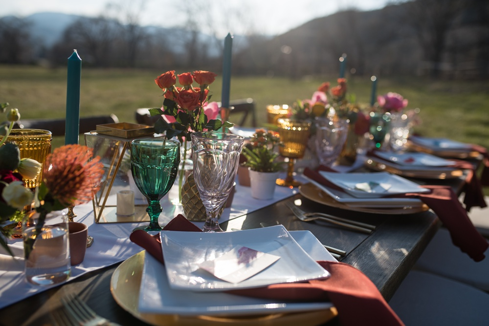 A table setting designed by Gumption and Grace at a styled shoot at Rist Canyon Inn outside of Laporte, Colorado. Wedding styled shoot photography by Sonja Salzburg of Sonja K Photography.
