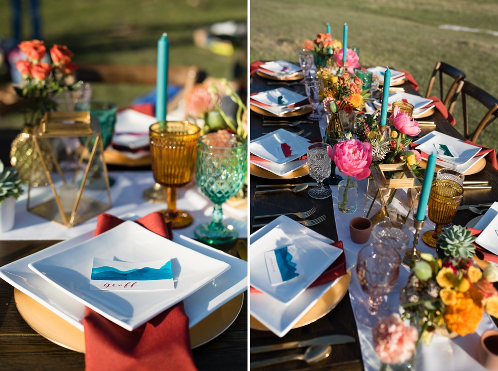 A table setting designed by Gumption and Grace with flowers from Emily Rose Floral Designs and custom hand crafted calligraphy by Natalie Carrasco of Avo Ink. Wedding, styled shoot, and food and beverage photography by Sonja Salzburg of Sonja K Photography.