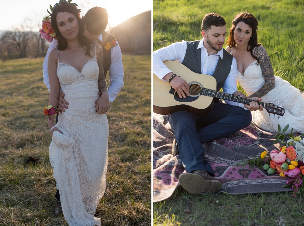 Models Paije Winkler and Dante DeCarlo at a wedding styled shoot at Rist Canyon Inn outside of Laporte, Colorado. Wedding styled shoot photography by Sonja Salzburg of Sonja K Photography.
