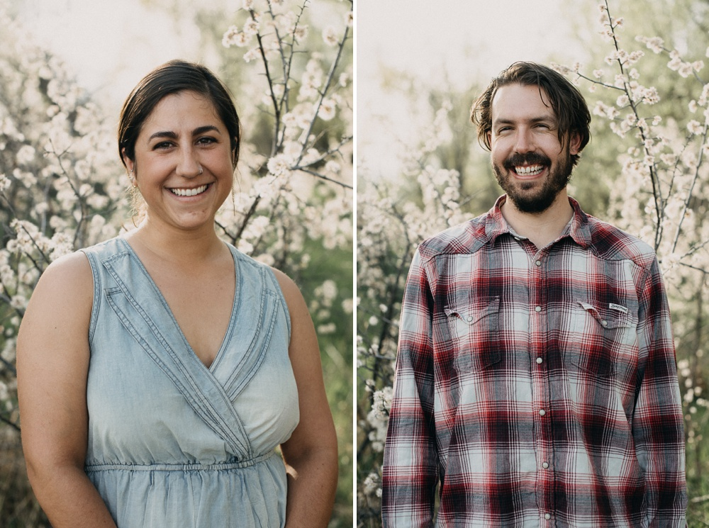 Head shots of an engaged couple at Lee Martinez Park in Fort Collins, Colorado. Engagement portrait photography by Sonja Salzburg of Sonja K Photography.