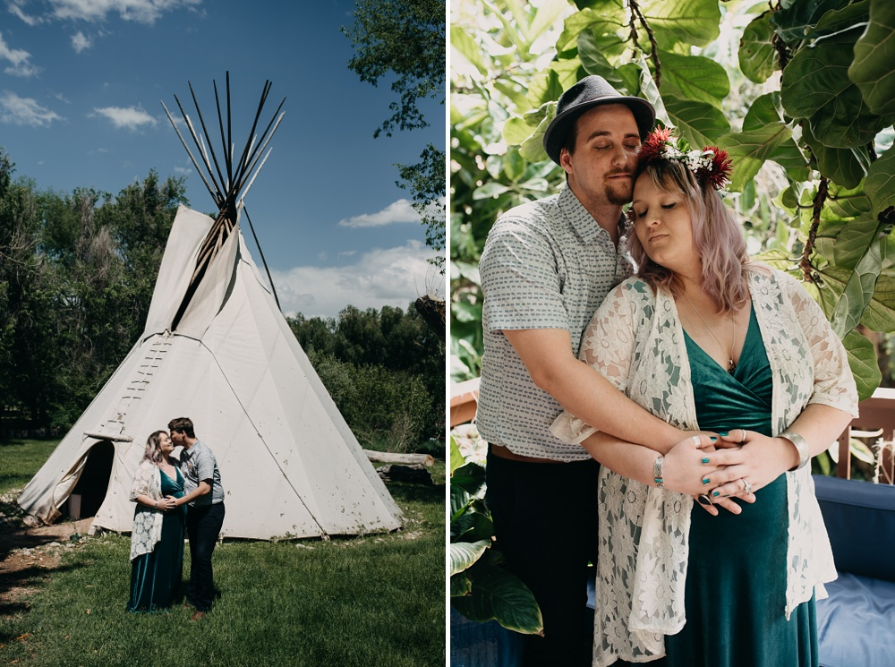 An expecting couple by the teepee at Solarium International Inn and Hosel in Fort Collins, Colorado. Maternity portrait photography by Sonja Salzburg of Sonja K Photography.