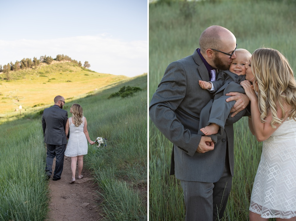 A young couple with their son on their wedding day at Horsetooth Reservoir outside of Fort Collins, Colorado. Wedding photography by Sonja Salzburg of Sonja K Photography.