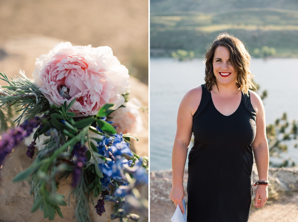The rings and the beautiful officiant at an elopement wedding at Horsetooth Reservoir outside of Fort Collins, Colorado. Elopement wedding photography by Sonja Salzburg of Sonja K Photography.
