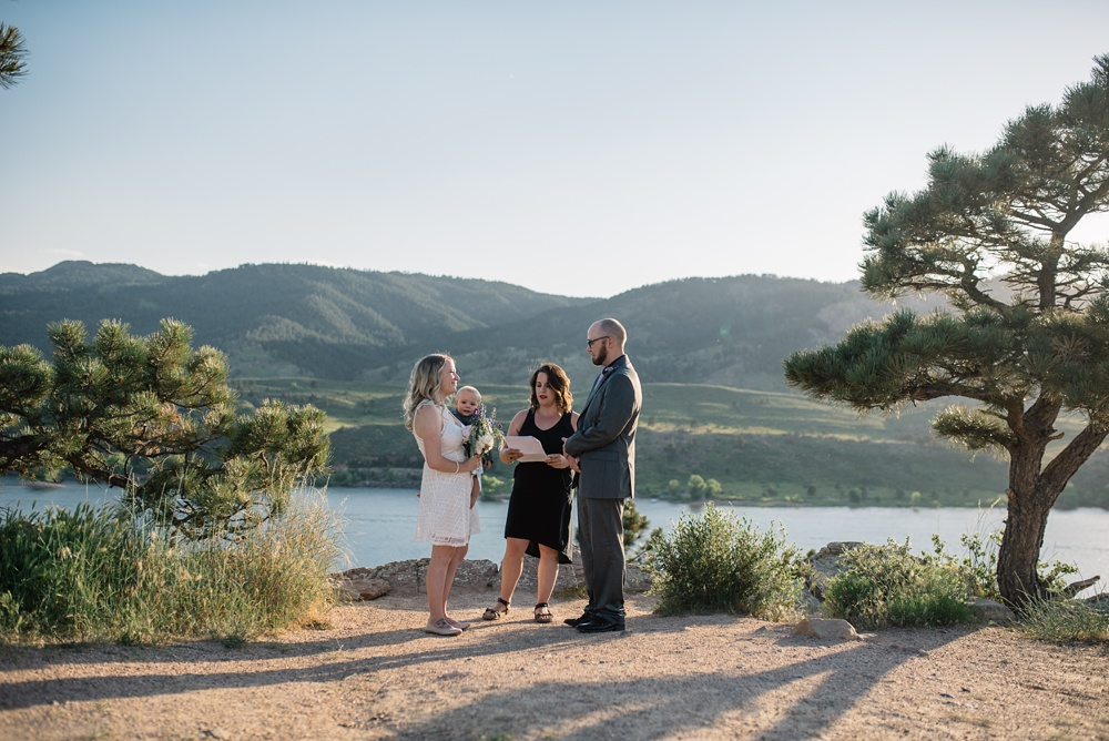 An elopement wedding at Horsetooth Reservoir outside of Fort Collins, Colorado. Elopement wedding photography by Sonja Salzburg of Sonja K Photography.
