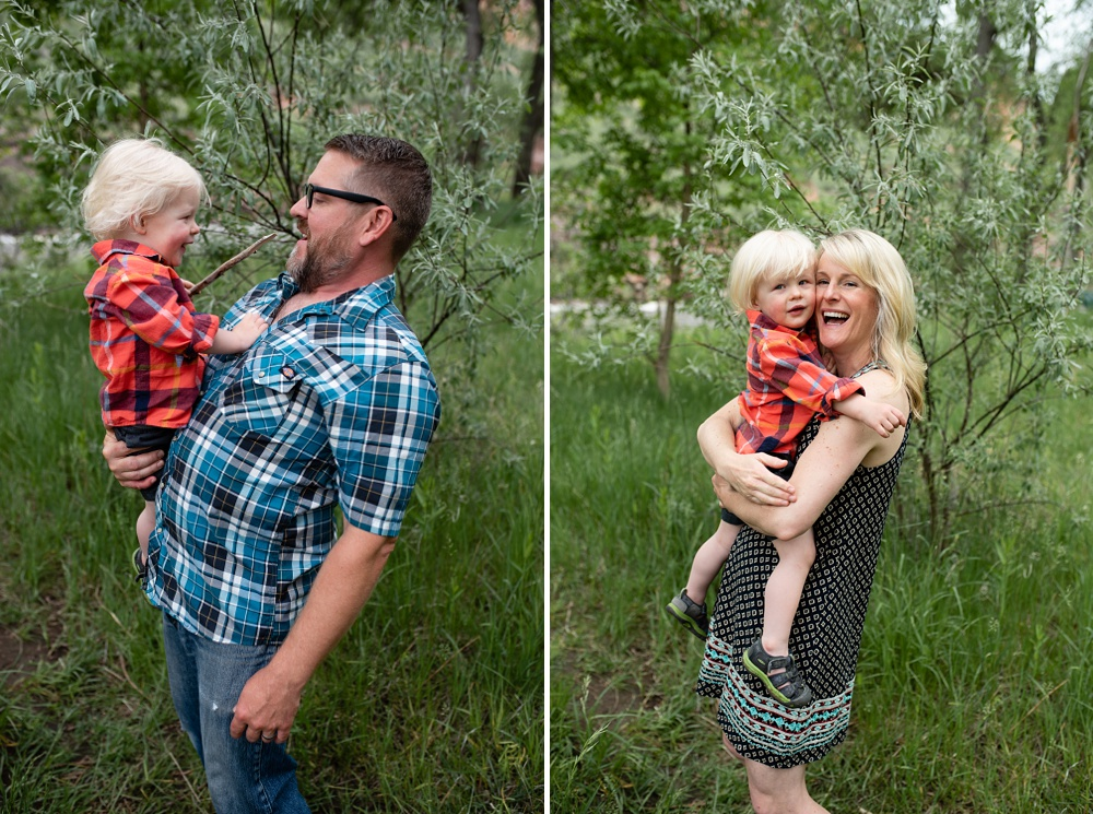 A father and son and mother and son at a family portrait session at Watson Lake outside of Fort Collins, Colorado. Family portrait photography by Sonja Salzburg of Sonja K Photography.