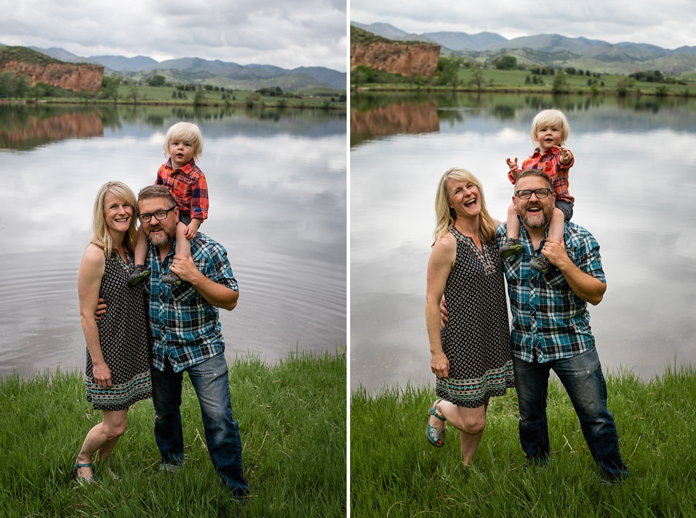 A young family at Watson Lake on the Poudre River outside of Laporte and Fort Collins, Colorado. Family portrait photography by Sonja Salzburg of Sonja K Photography.
