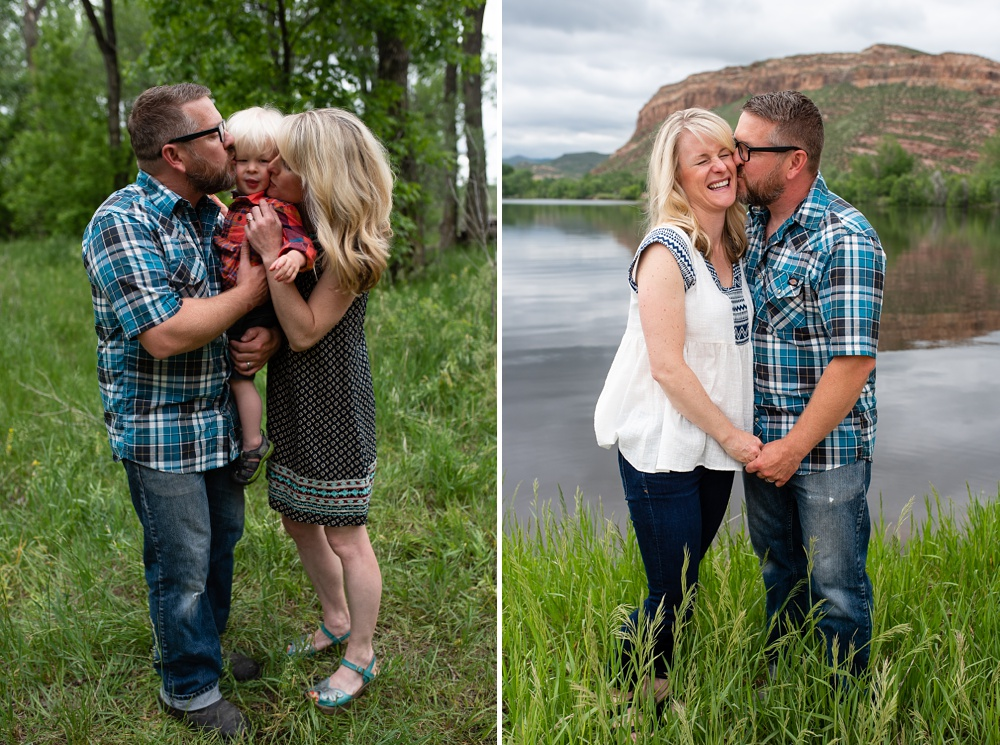 A young family at Watson Lake outside of Fort Collins, Colorado. Family portrait photography by Sonja Salzburg of Sonja K Photography.