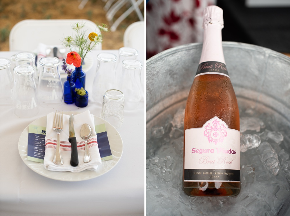 A place setting and Rose wine at the Fortified Collaborations Hear of Summer Farm Dinner at Colorado Stock and Grain Farm in Colorado. Event and Food and Beverage photography by Sonja Salzburg of Sonja K Photography.