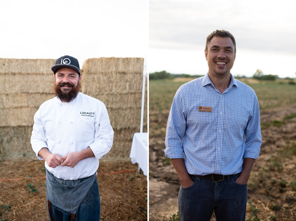 Chef Dryden Goss of Locality Restaurant and Sebastian Africano of Trees, Water, and People at the Fortified Collaborations Heart of Summer Farm Dinner at Colorado Stock and Grain Farm in Colorado. Event and Food and Beverage photography by Sonja Salzburg of Sonja K Photography.