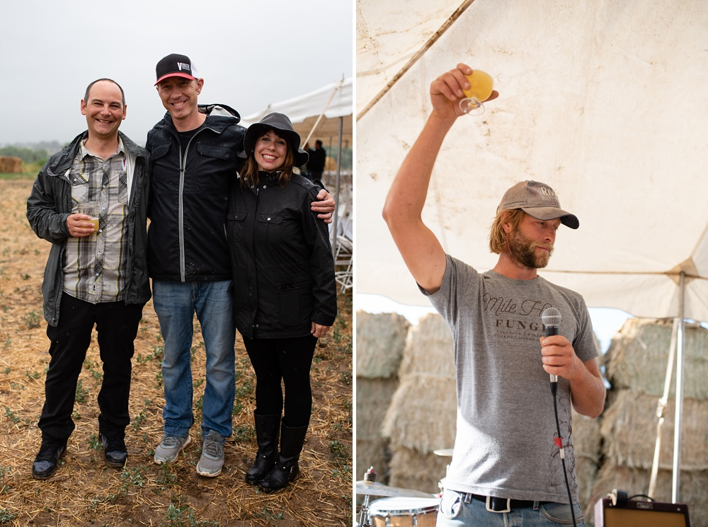 Jason Bowser and Josh and Angie Gretz of Verboten Brewing and the head of Colorado Stock and Grain Farm at the Fortified Collaborations Heart of Summer Farm. Event and food and beverage photography by Sonja Salzburg of Sonja K Photography.